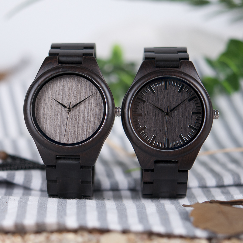 BOBO BIRD Mens Black Ebony Wooden Watches Wood Links Causal Quartz Wrist Watch in Gift Box custom logo 14