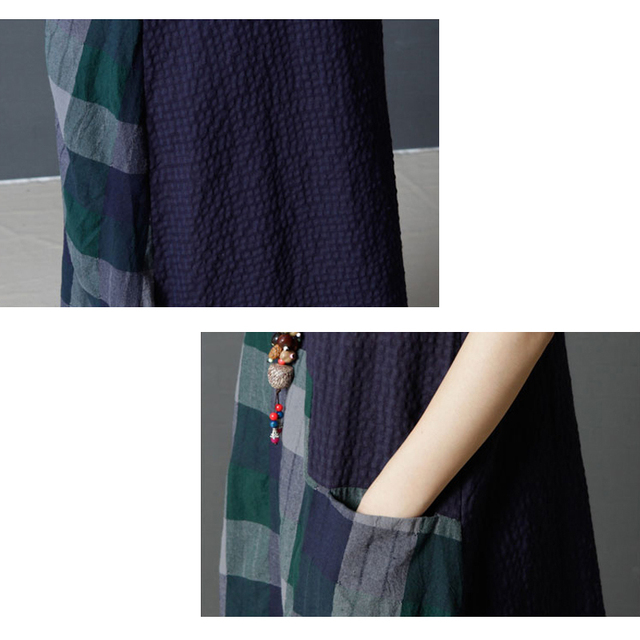 a927822f0e0c Summer Dresses Women Cotton Linen Midi Dresses Plaid Checked Print Short  Sleeve Casual Women Loose robe