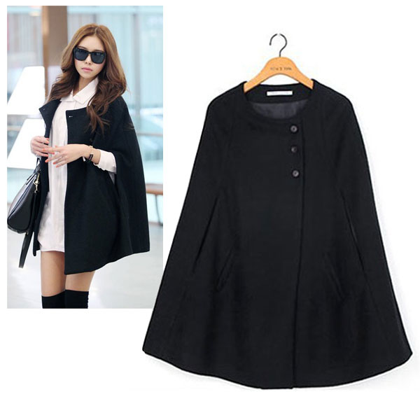 Casual Womens Cape Black Batwing Wool Poncho Jacket Lady Winter ...