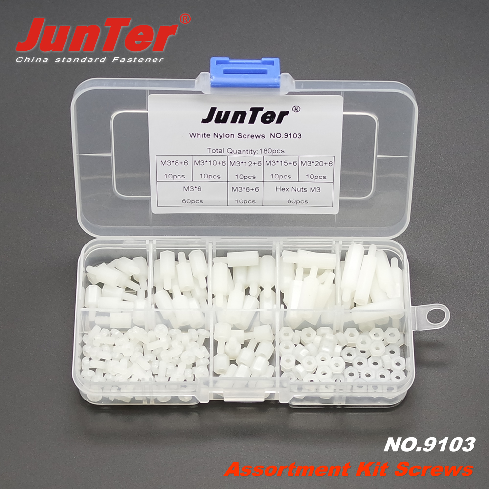 180pcs M3 (3mm)  White Standoff Spacers Nylon Screws/ Nuts/ Pan Head Bolts Assortment Kit NO.9103180pcs M3 (3mm)  White Standoff Spacers Nylon Screws/ Nuts/ Pan Head Bolts Assortment Kit NO.9103