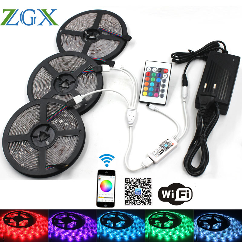 ZGX Wifi Controller RGB LED Strip 5050 ip 20 Waterproof Decor Flexible 30leds/m led tape diode string DC 12V Power adapter set led strip light 5050 rgb waterproof 30led m diode flexible tape 4m 8m 12m 16m smart wifi led controller power supply