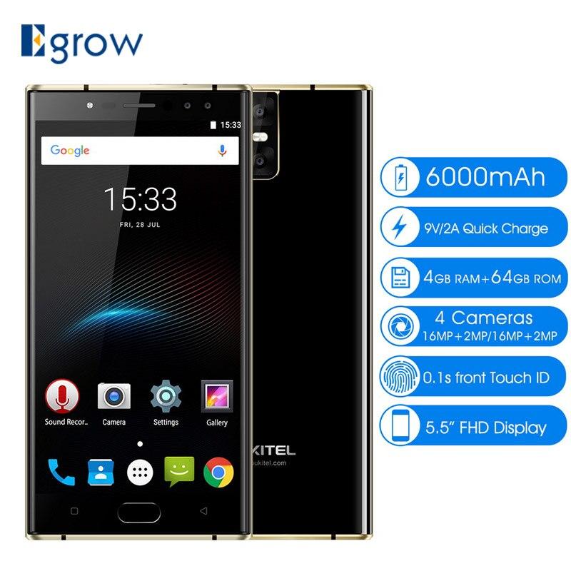 Oukitel K3 16MP + 2MP 4 камеры мобильного телефона MT6750T Octa core 4 ГБ + 64 ГБ сотовых телефонов 5.5 дюймов 6000 мАч спереди отпечатков пальцев Смартфон