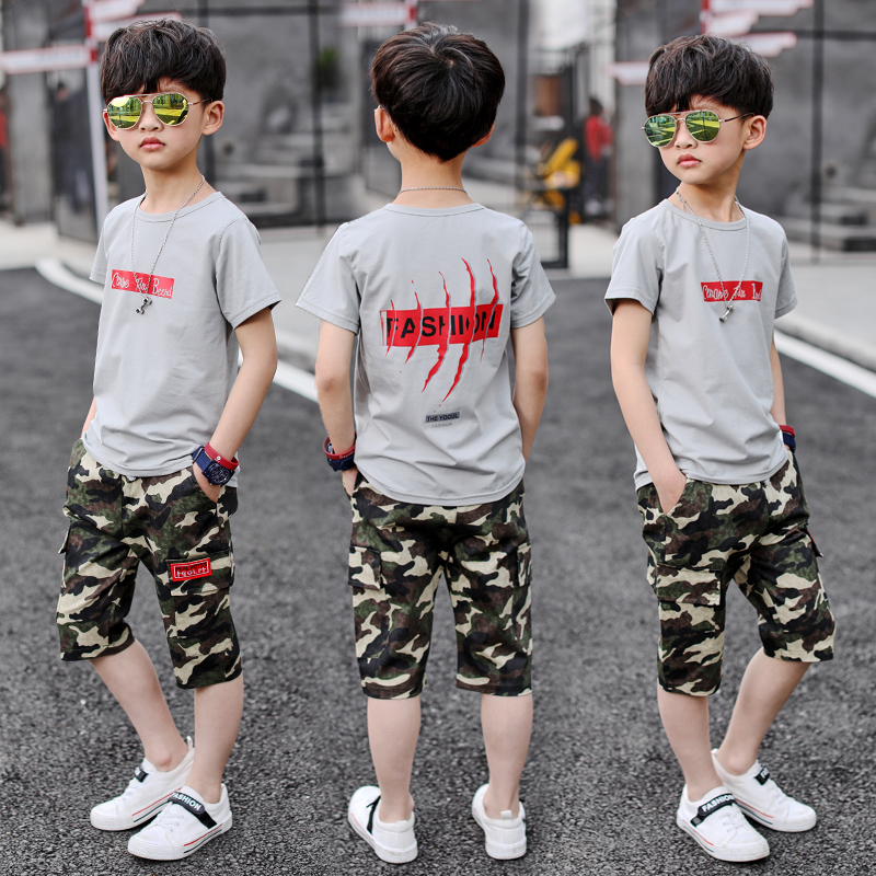 TUTUYU children 2018 new boys suits summer wear, summer kids camouflage short sleeves, two sets of handsome childrens wear