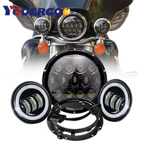 7 inch LED Headlight DOT Kit Set Fog Passing Lights for Harley Davidson Ultra Classic Electra Street Glide Fatboy