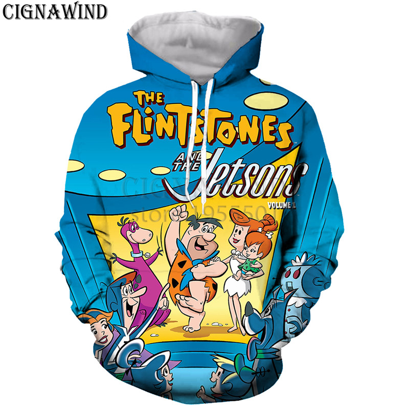 Back To Search Resultsmen's Clothing Latest Collection Of New Arrive Jetsons Meet The Flintstones Hoodies Men Women Sweatshirts 3d Print Fashion Hip Hop Style Streetwear Casual Tops Modern Design