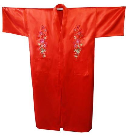 Red de Los Hombres Chinos de Satén de Seda Robe Bordado Del Kimono de Baño Vestido Flor Sml XL XXL XXXL Envío Libre MR-018