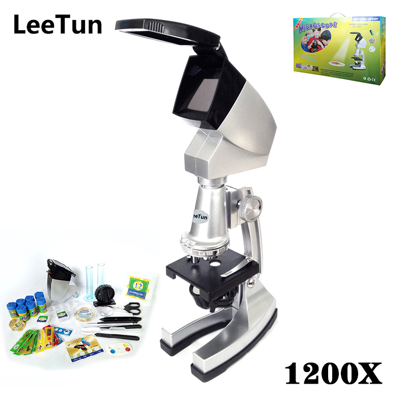 1200X Intelligence Educational Science Kits Toy Microscope for Children Schoolboy Schoolgirl with Plenty of Accessories t3184b educational toy coin slide chip game toy playing toy set