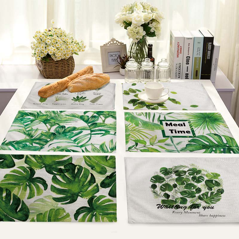 Kitchen Art 32cm: 42*32cm Ins Hot Green Leaf Pattern Kitchen Table Mats For