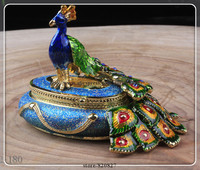 Round Male Peacock Figurine Box Czech Crystals Bird Jewelry, Trinket Keepsake or Pill Box FIGURINE Peacock Box Enamel
