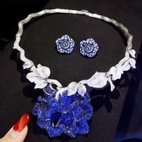 Свадебные украшения комплекты 925 серебро с фианит цветок ожерелье и серьги стержня Свадебные Модные женские ювелирные изделия синий