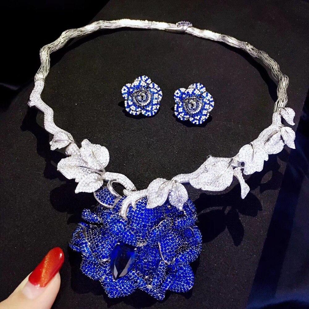 Ensembles de bijoux de mariée 925 en argent sterling avec zircon cubique collier de fleurs et boucles d'oreilles de mariage mode femmes bijoux bleu