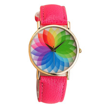 Womens Casual Fashion Wristwatches Relogio Feminino Summer New Product Woman Seven Color Lotus Leather Watch Quartz Clock Saat