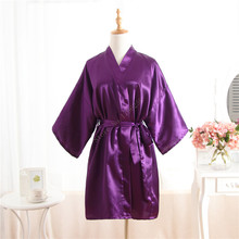 Hot Women robe Purple Silk Satin Robes Wedding Bridesmaid Bride Gown kimono Solid robe One size fit S-XXL cheap Rayon Polyester Faux Silk MeiYeSiDa Half Knee-Length One Size fits S-XXL Spring Floral Faux Silk Rayon