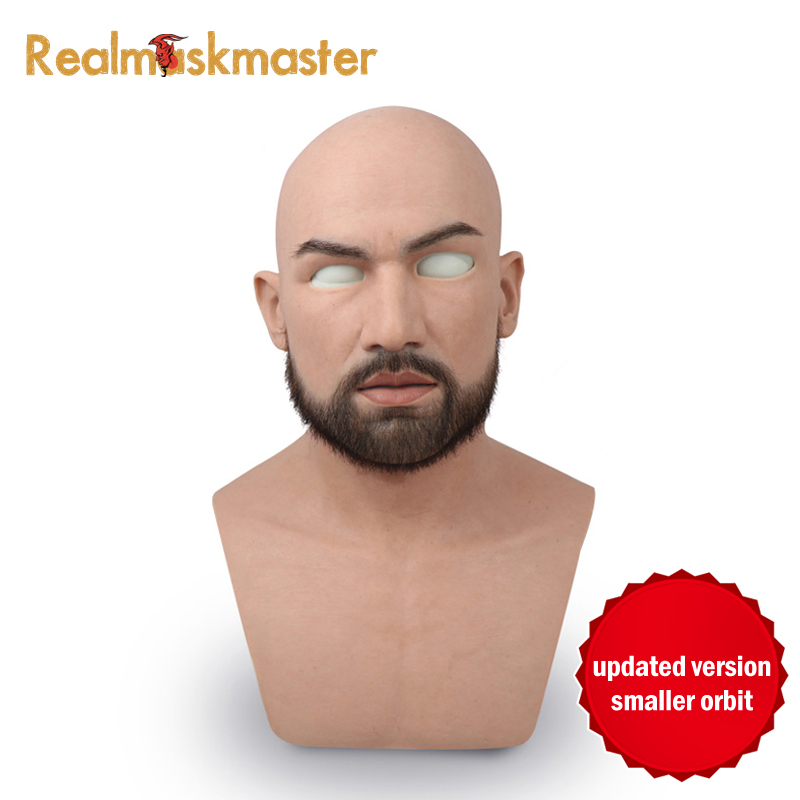 Realmaskmaster macho adulto realista silicone rosto cheio máscara de látex para o homem máscara do partido cosplay fetiche verdadeira pele