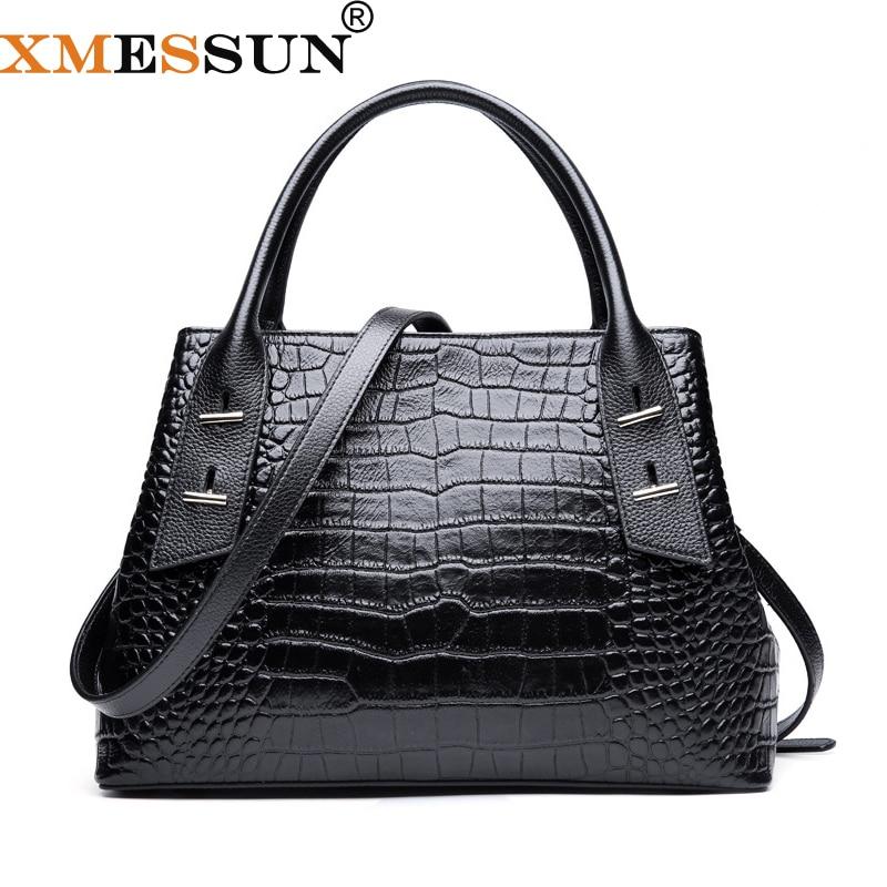 XMESSUN Genuine Leather Women Crocodile Pattern Handbag Large Shoulder Bag Black Female Hobos Bag Alligator Messenger