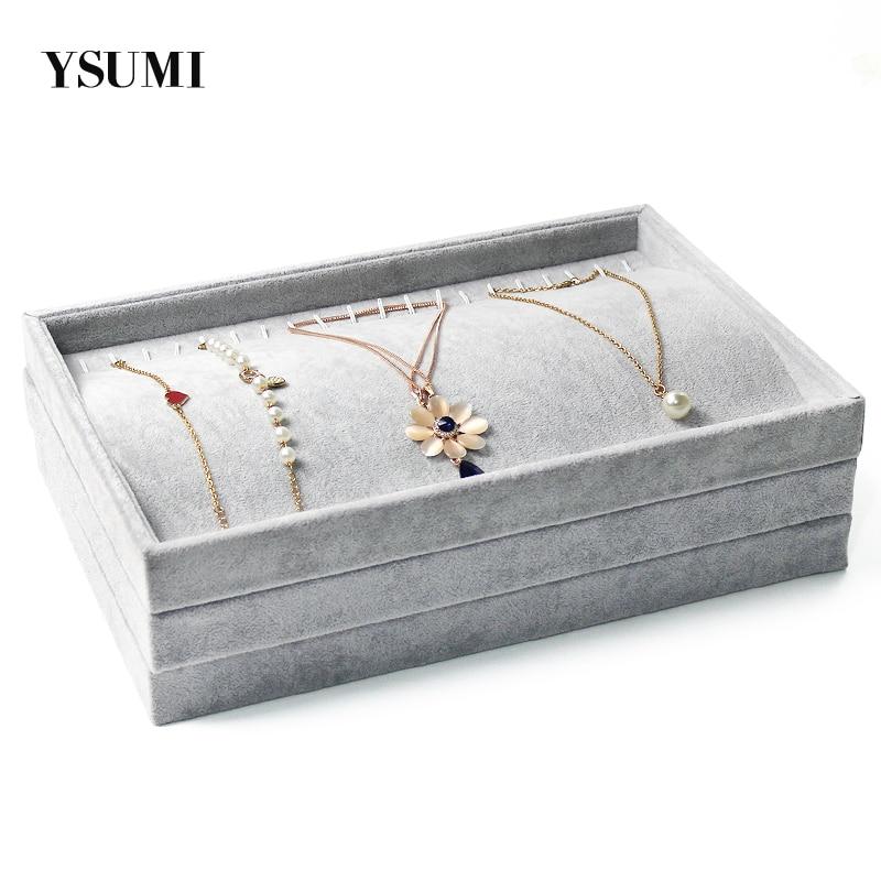 Velvet Jewelry Rack Chain Bracelet Necklaces Stand Organizer Holder Display Tray