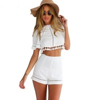 Free Shipping Summer Women Clothing 2015 Women S Tops And Pants Two Piece Outfit Fashion White