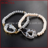 BOROSA Natural Onyx Drusy Agate Geode Slice 6mm Grey And Black Color Beads Gold Color Bracelet