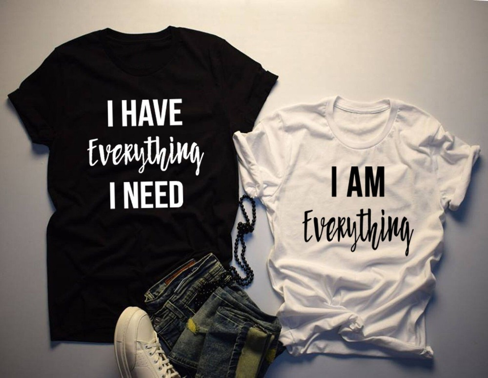 Women   T     Shirt   Matching Tshirt I Have Everything I Need I AM Everything Letter Print Summer Couples Lovers   T  -  shirt   Casual Tops