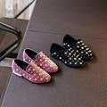 2017 прекрасный дети bow shoes стад заклепки плоские резиновые повседневная slip-на резинке принцесса моды эспадрильи партии жениться джейн