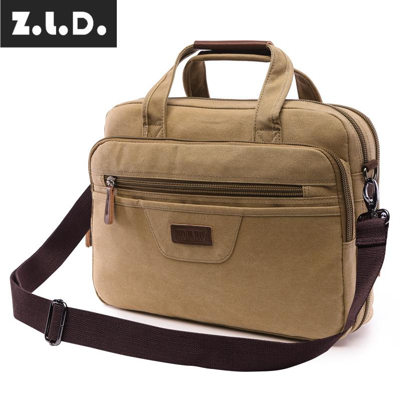 Z.L.D. Factory Outlet Vintage Canvas Tote Bag  Computer Bag Men And Shoulder Messenger Bag Business Briefcase