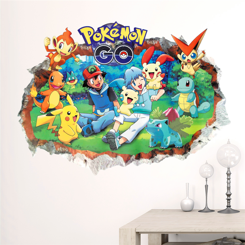 3d Pokemon Go through wall stickers for kids room Charmander Bulbasaur Squirtle Mewtwochild wall decals cartoon Pikachu posters