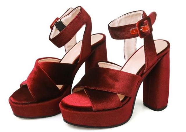 d38bbc1f892f Summer hot selling wine red velvet platform sandal sexy open toe thick  heels ankle strap woman shoes cutouts sandal