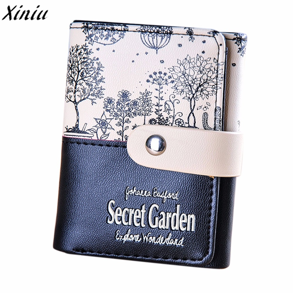 Women Wallet Secret Garden Partten Candy Color Leather Short Purse Coin Purse Girl Small Fresh Wallet Carteira Feminino #6205 free shipping candy color women garden shoes breathable women beach shoes hsa21