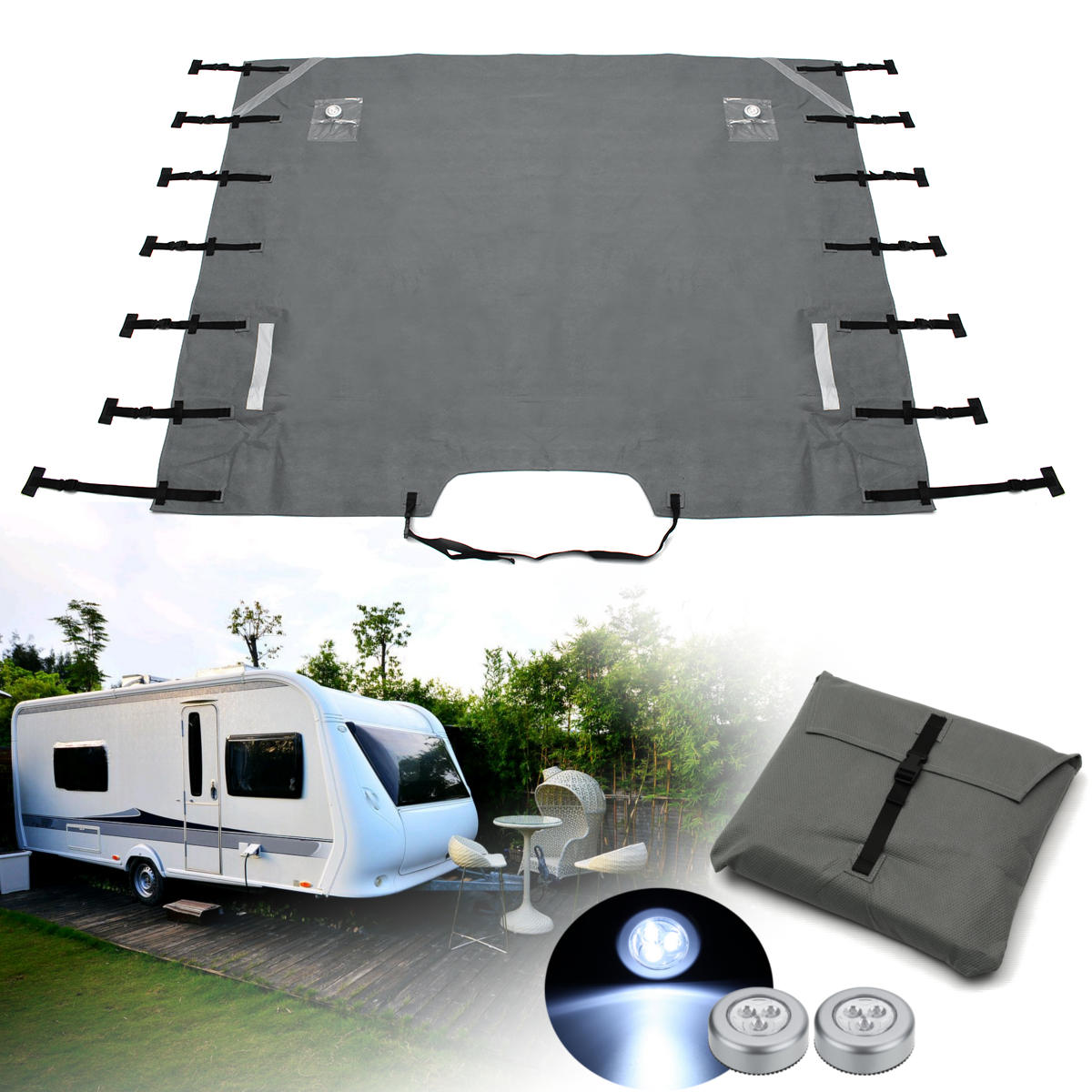 Grey Caravan Front Towing Cover Chip Protection Universal Size Free LED Lights caravan caravan in the land of grey and pink