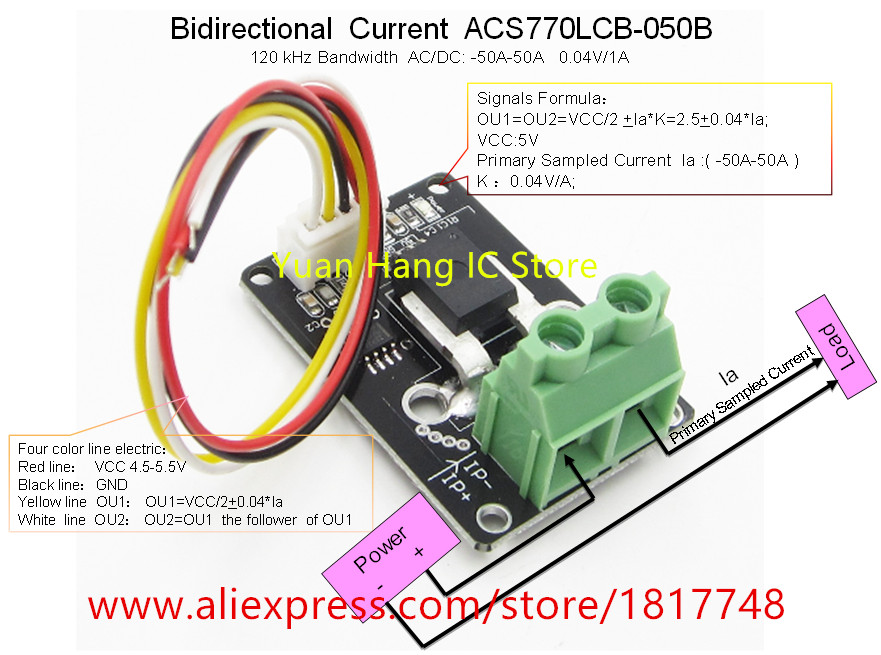 Bidirectional DC current sensor module acs770lcb-050b acs770lcb 050b acs770 120 kHz bandwidth DC: - 50-50a 0.04v/1a