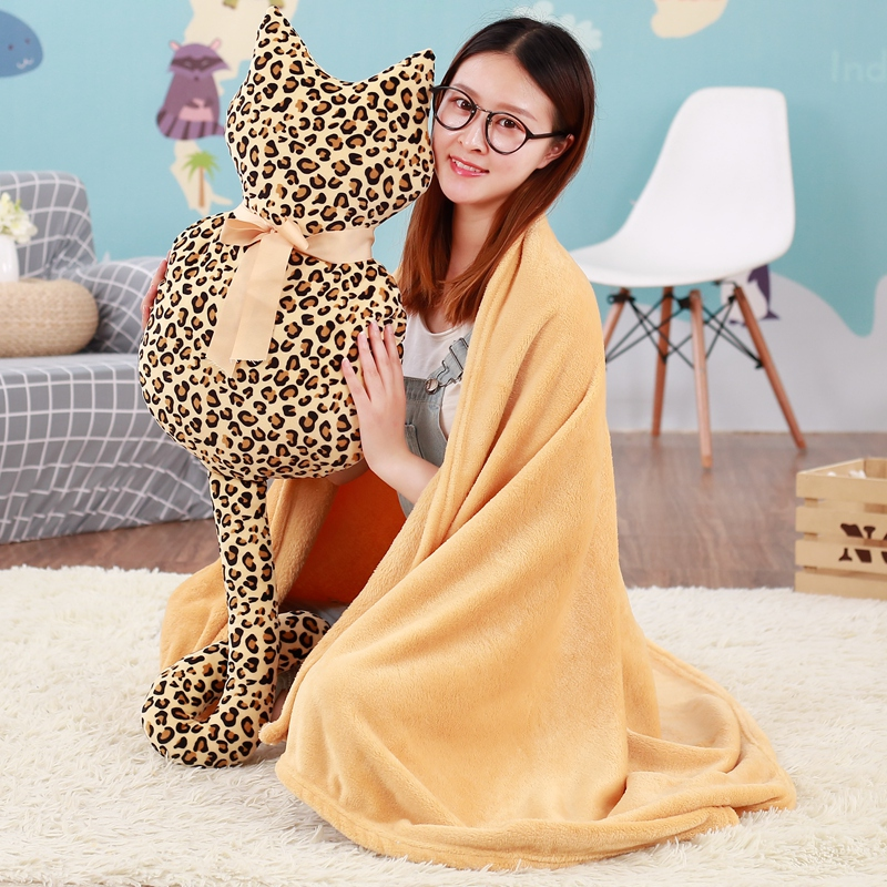 Fashion Cute Shadow Cat Plush Toy and Blanket Staffed Soft Long Tail Cat Pillow Soft Cushion Kawaii Cat Doll for Kids Children