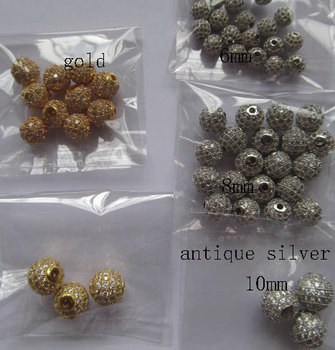 AAA grade 6-10mm 24pcs pave metal spacer &cubic zirconia crysatl silver gold mixed jewelry beads