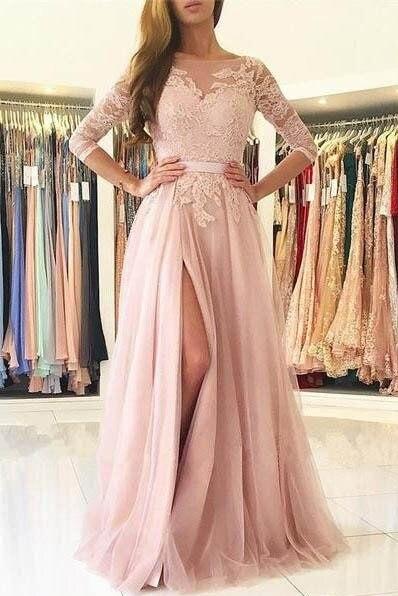 Élégante dentelle Rose poussiéreuse a-ligne robes de soirée 2019 Sexy dos nu robes de soirée formelles haute fente 3/4 manches robe de soirée