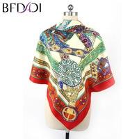 BFDADI 130cm 130cm Women 2017 New Fashion Imitated Silk Euro Nations Wind Bohemia Printed Scarf Big