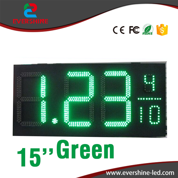 15 inch 7 Segment green color LED Display 8.889/10 Symbol Outdoor LED Gas Station Sign hd high quality led gas price display sign outdoor led billboard green color 12 outdoor led display screen
