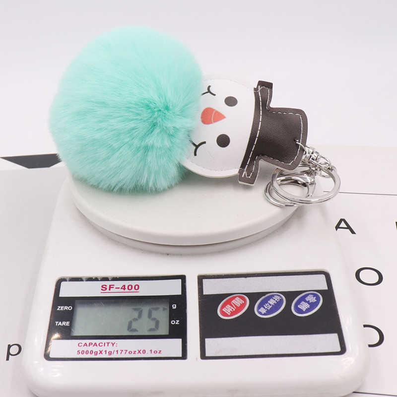 Fluffy Faux Fur Pompom Boneco de Neve Couro Chave Anéis Carro Chaveiros Para As Mulheres Pingente de Chave Chaveiro Charme Saco de Acessórios de Natal