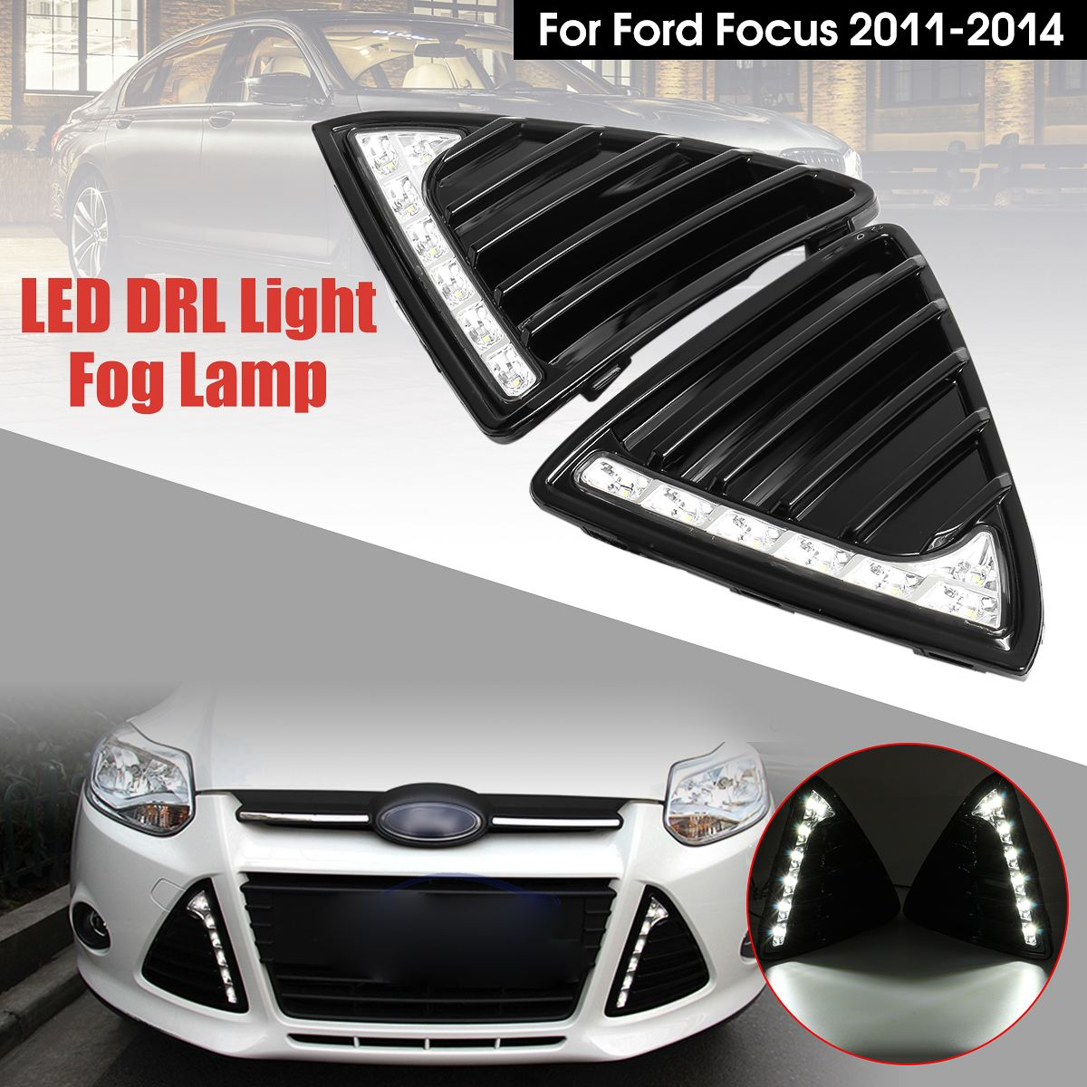 1 Pair White LED DRL Car Daytime Running Light Fog Lamp For Ford-Focus 2011-2014 New one stop shopping for k2 drl 2014 2015 new rio led drl k2 daytime running light fog lamp automotive accessories