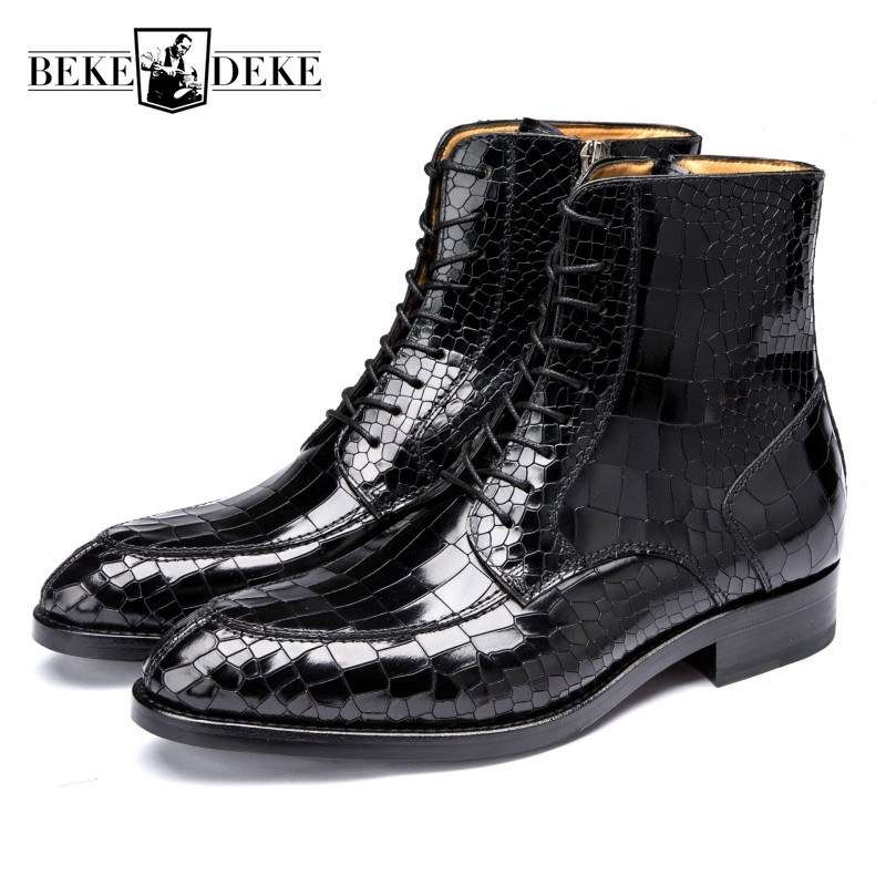 De Genuínos Vestido Italiano Escritório Formais Padrão Trabalho Black Luxo Botas Homens brown Crocodilo Segurança Artesanal Tornozelo Sapatos Couro Negócios Do n7nOx5r