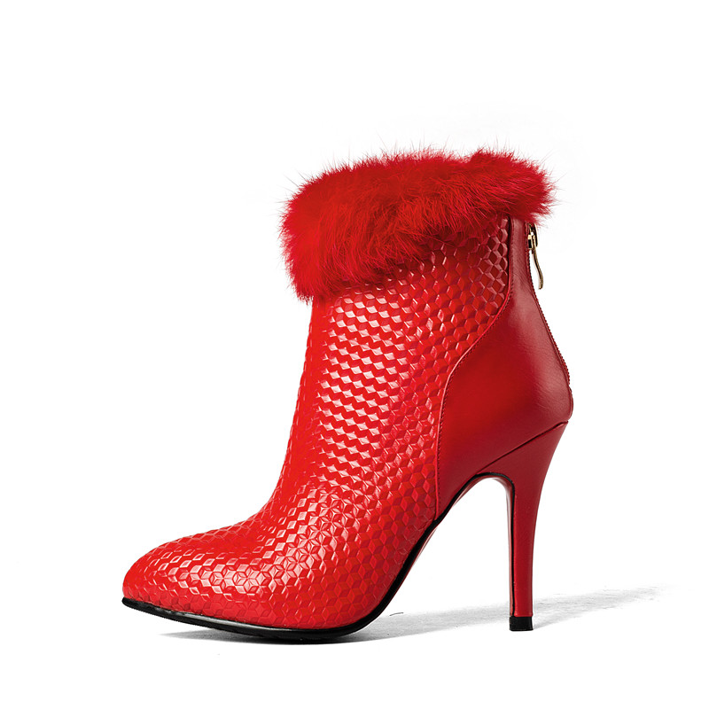 Noir Mince rouge Cm Sexy 8 Arrivée Chaussures Fourrure Bottes Rouge Haute Talons Bout Noir Nouvelle Dames 2018 Femmes Parti Memunia Cheville Pour Pointu W9I2YEDH