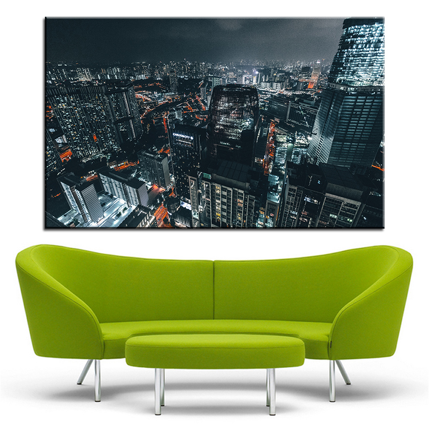 large size printing oil painting city at night panoramic wall painting decor wall art picture for living room painting no frame