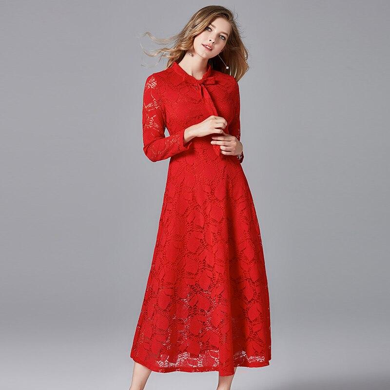 Delle Partito Di Signore Dell annata Pizzo Dei Rosso Da Tunica Elegante Bow  Festa Lungo Donne 2018 Più De Vestito Musenda Formato ... 28b78e06793f
