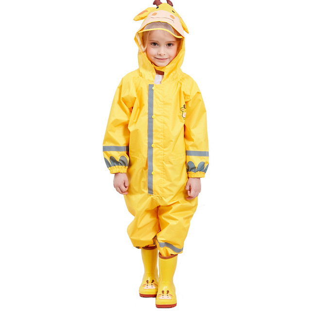 Kocotree/детский желтый плащ с жирафом; Детский комбинезон; дождевик для маленьких мальчиков и девочек; водонепроницаемые комплекты одежды для детей