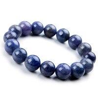 14mm Genuine Blue Natural Stone Stretch Bracelet Women Men Charm Powerful Big Round Bead Bracelet