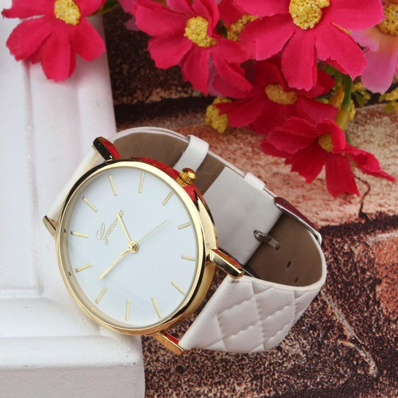 MINHIN Women PU Leather Dress Watch Lady Casual Leather Quartz-Watch Analog Wrist Watch New Year Gift