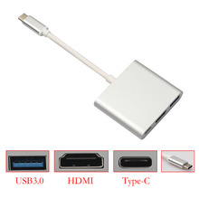 Type-C USB 3.1 to USB 3.0/HDMI/Type-C Converter Adapter For Mobile phone MacBook type C devices-silver