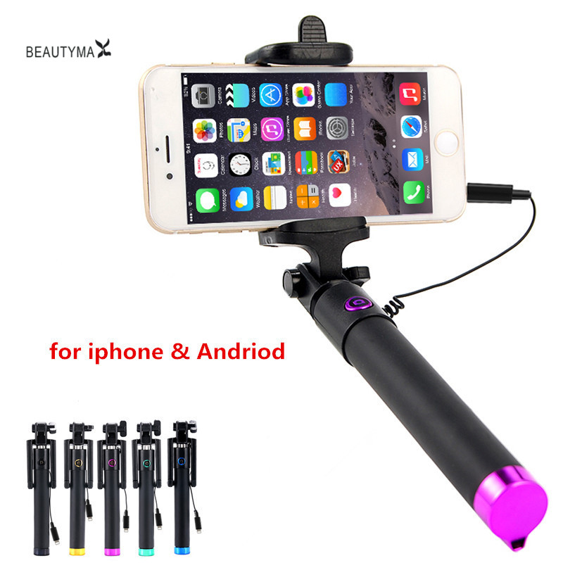 buy selfie stick for iphone 7 wired selfish monopod for samsung galaxy s8 s7 s5. Black Bedroom Furniture Sets. Home Design Ideas