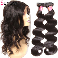 Sunber Hair 360 Lace Frontal With Bundle Remy Human Hair Weave Peruvian Body Wave 2 Bundles With Frontal Closure