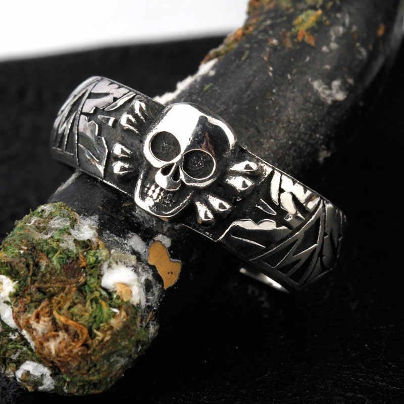 リアルピュア 925 スターリングシルバースケルトン頭蓋骨ハンサムバイカーリング愛好家のためのパンクジュエリー