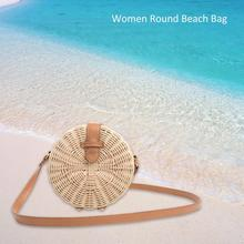 цены Outdoor Beach Round Rattan Braided Hand Woven Bag Summer Fashion Casual Straw Sling Shoulder Bags For Women Girl Crossbody Bag