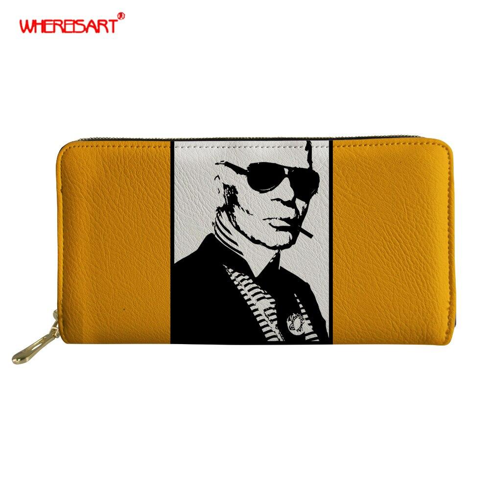 Portefeuille à motif Karl Lagerfelds pour femmes monedero grande fermeture à glissière pour femmes portefeuille long sac à main femme 2019 nouveau